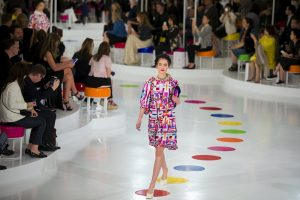 A model presents a creation of the Chanel Cruise Collection 2015/16 at the Dongdaemun Design Plaza in Seoul